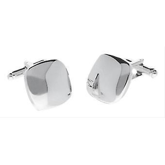 Duncan Walton Asose Rhodium Metal Cufflinks - Silver