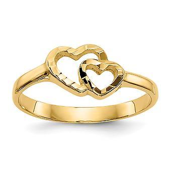 14k Gult Guld Fast Stängt tillbaka för pojkar eller flickor Love Heart Ring Storlek 3 - 1.6 Gram
