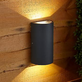 Biard Modern Matte Black Curved LED Indoor Outdoor Wall Wash Up Down Light IP54