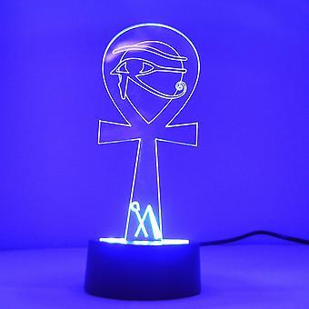 Eygyptian ankh med Eye Colour skiftende LED mini akryl lys