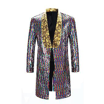 Cloudstyle Men's Blazer Shiny with Long Colorful Sequins
