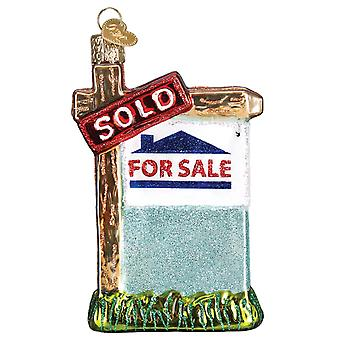 Old World Christmas Realty Sign House For Sale Sold Holiday Ornament