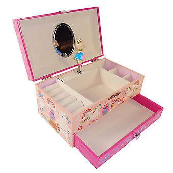 Girls rectangular rainbow musical jewellery box