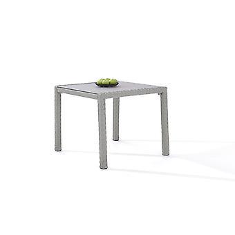 Polyrattan Table à manger 90 cm - satinée gris