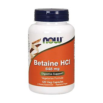 Betaine HCL 648mg 120 vegetable capsules