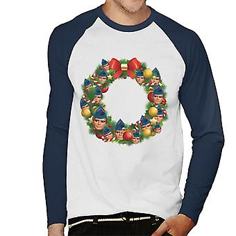 Thunderbirds Christmas Wreath Multiface Gordon Men's Baseball Long Sleeves T-Shirt