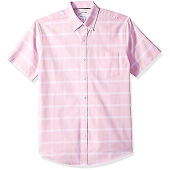 Essentials Men's Regular-Fit Short-Sleeve Pocket Oxford Shirt, Pink Wi...