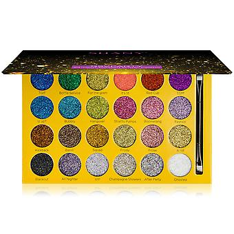 SHANY RSVParty Glitter Eyeshadow Palette - 24 Long-Lasting Pressed Glitter Pigments for Face and Body - Ultra Pigmented Glitter Makeup set with Brush.