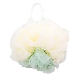 Nylon Color Matching Bath Flower Ball Beige and Light Green 13.5cm