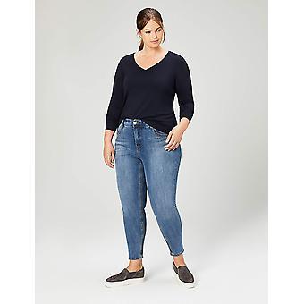 طقوس يومية Women & apos;s Plus Size Jersey طويل الأكمام V-Neck T-shirt, Navy, 2X