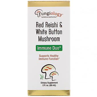 California Gold Nutrition, Fungiology, Red Reishi & White Button Mushroom, Immun