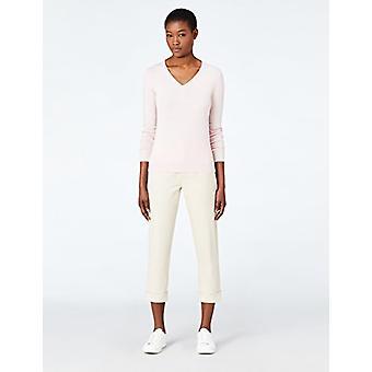 MERAKI Women's Cotton V Neck Sweater, (Pale Pink), EU XL (US 12-14)