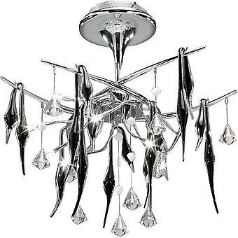 Inspiriert Diyas - Cygnet - Decke 10 Licht poliert Chrom, schwarzes Glas, Kristall