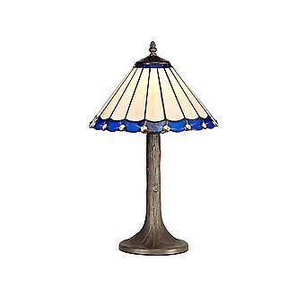 1 albero leggero come lampada da tavolo E27 con 30cm Tiffany Shade, Blu, Cristallo, Ottone Antico Invecchiato