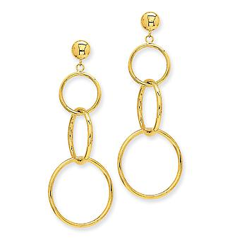 14k Yellow Gold Polished Hollow tube Triple Ring Dangle Post Earrings Measures 17x42mm Jewelry Gifts for Women