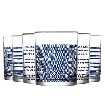 LAV Liberty Patterned Whisky Tumbler Bril - 280ml - Navy - Pack of 6