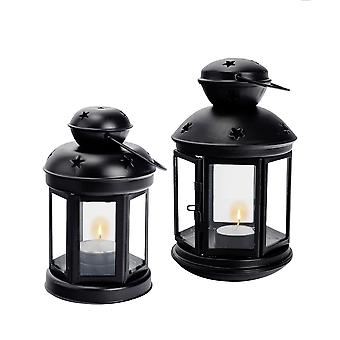 Nicola Spring Candle Lanterns Tealight Holders Metal Hanging Indoor Outdoor - Black - Set of 2