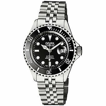 Gevril Mens 4857B Wall Street ETA 2824 Zwitserse automatische zwarte keramische bezel horloge