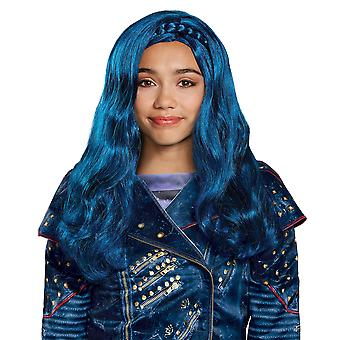 Evie Isle Look Disney leszármazottai TV Movie Book Week Blue Girls Jelmez Paróka