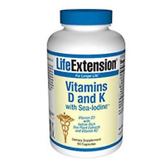 تمديد الحياة الفيتامينات D وK مع البحر اليود، 60 قبعات