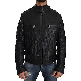 Trussardi Blue Leather Biker Zipper Motorcycle Mens Jacket