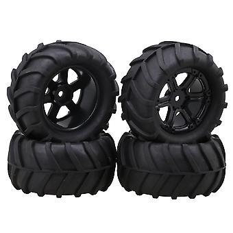 4x Black RC 1:16 Largefoot Car Rubber Wheat Type Tyre 6-Spokes Wheel Rim