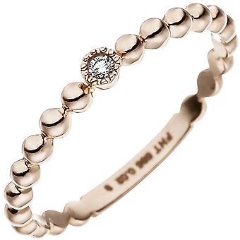الكرة رنين المرأة 585 الذهب الذهب الأحمر 1 الماس الرائعة خاتم الذهب الأحمر خاتم خاتم خاتم