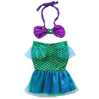 Baby Girls Mermaid Maillots de bain- Cute Lovely Bow Knot Tankini Bikini Sleeveless