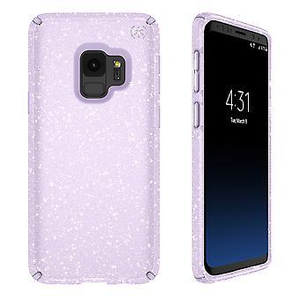 Speck Presidio Clear + Glitter Case for Galaxy S9 - Geode Purple with Gold Glitter/Geode Purple