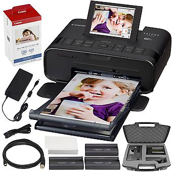 Canon selphy cp1300 compact photo printer (black) with wifi and accessory bundle w/ canon color ink and paper set + case ps34163