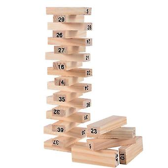 Timber Tower Wood Block Stacking Game - Number Match Playset (48 Pieces)