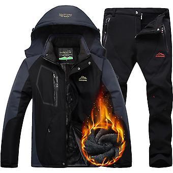 防風、防水暖かい厚プラスベルベットジャケットとパンツ、スノーボード