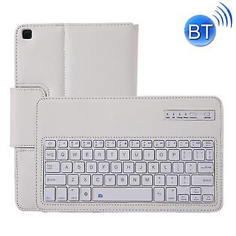 SA510 قابل للفصل لوحة المفاتيح بلوتوث + الليتشي نسيج PU غطاء واقية الجلود مع حامل لغالاكسي تاب A 10.1 (2019) T510/T515 (أبيض)