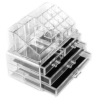 Macallen kosmetiske gøre op klar akryl arrangør 20 sektioner med skuffer 2 opbevaring skuffer