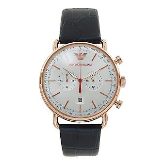 Armani AR11123 Emporio Rose Gold, Silver Sunray Dial & Navy Blue Leather Chronograph Men's Watch