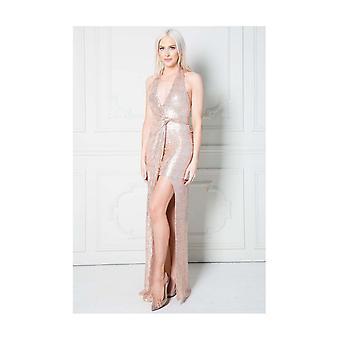 Stephanie halterneck sleeveless sequin maxi dress