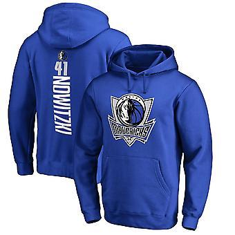 Dallas Mavericks 41 Nowitzki Loose Pullover Hoodie Sweatshirt WY255