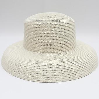 Summer Solid Plain Elegant Wide Brim Hat, Round Top Panama Floppy Straw Beach