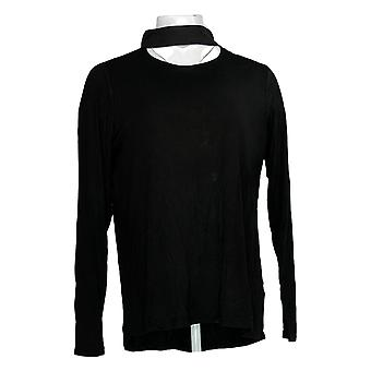 Lisa Rinna Collectie Women's Top Long Sleeve Mock Neck Black A351129