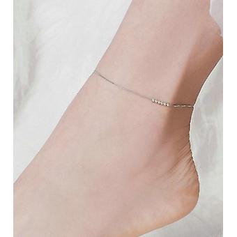 Silber kleine Perlen Fußkettchen