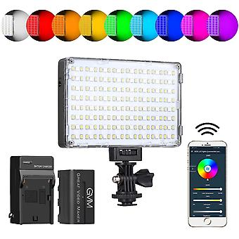 Gvm rgb video light with app control, 360 ° full color led camera light cri97 + dimmable 3200k-5600