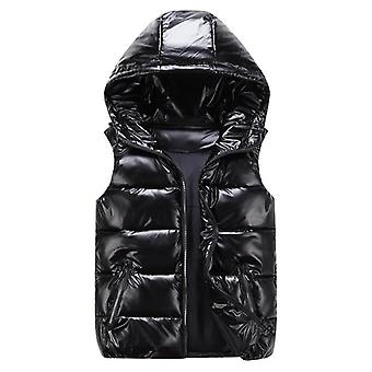 Thicken Vest, Winter Warm Hooded Cotton-padded Solid Waistcoat