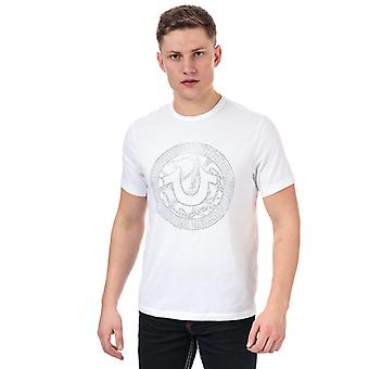 Men's True Religion Branded Logo Camiseta en blanco