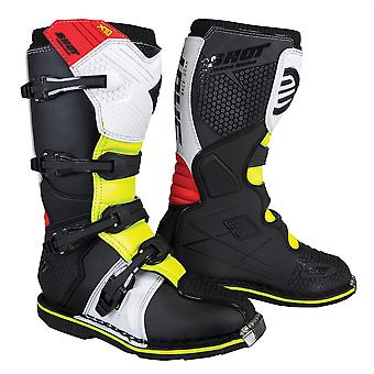 2020 Shot X10 2.0 MX Boots Adulte - Noir/Rouge/Blanc/Jaune