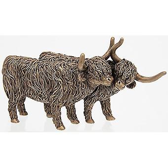 Bronze Highland Coo Pair Ornament