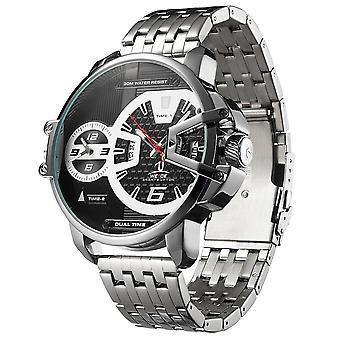 WEIDE UV1702 Dual Time Zone Calendar Men Wrist Watch Stainless Steel Band Quart