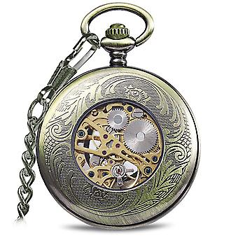 JIJIA JX015 Blue Gem Striped Appearance Mechanical Watch Pocket Watch