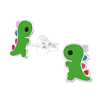 Lapset'Sterling hopea vihreä dinosaurus nasta korvakorut