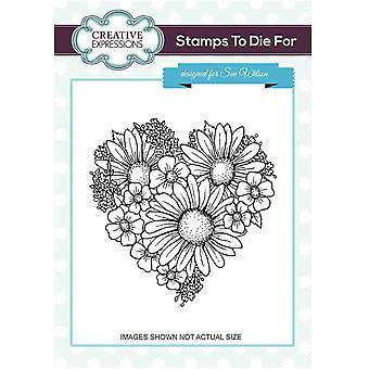 Expressões Criativas Coração das Flores Pré-Selo De Corte