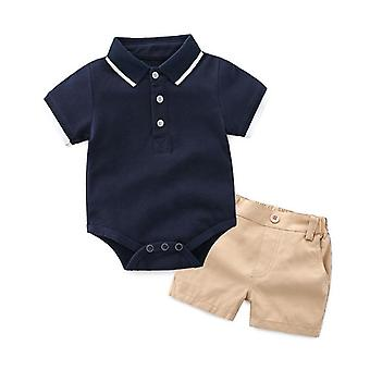 Top Summer Fashion Newborn Formal Clothing Set Cotton Romper Shorts Gentleman